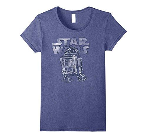 Womens Star Wars R2-D2 Vintage Style Graphic T-Shirt C1 Medium Heather Blue