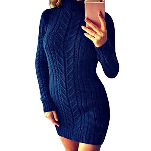 Vestido Dolcevita Donna Maglia Pullover Xl Lavorato Autunno Fcahnrtc L Causale Maglione Inverno Aderente Lungo A Navy Ponticello 0qHvw