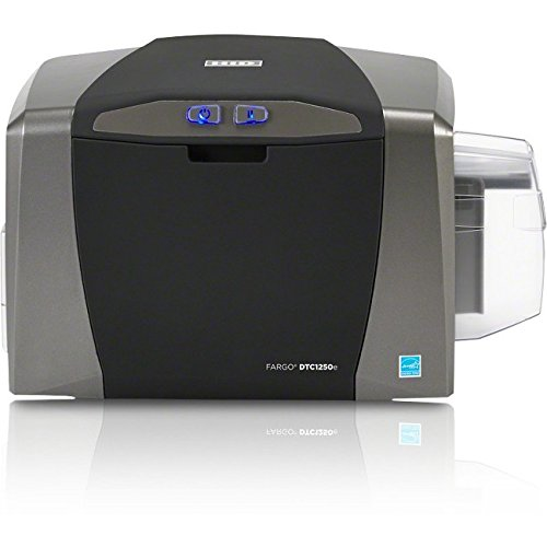 Fargo DTC1250e Single Sided USB Card Printer with Supplies Bundle (Badging Software)