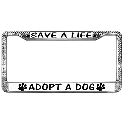 (GND Save A Life Adopt A PET Car License Plate Holder,Glitter Rhinestones License Plate Frame Dog Paw Prints Bling License Plate Frame for Women for US Vehicles)