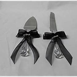 Wedding party reception Cake Knife & Server Set Biker Motorcycle Black bows