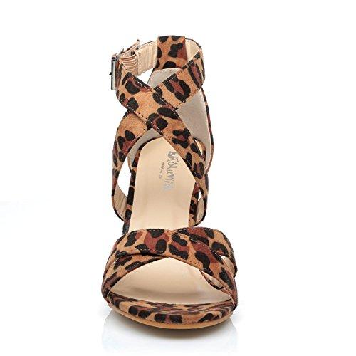 femme UK léopard imprimé Sophie multicolore pour Sandales ShuWish pI7fqFf