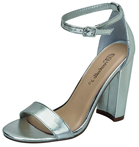 Breckelles Devie-02 Womens Open Toe Ankle Strap Chunky Heel Sandals (9 B(M) US, Silver)