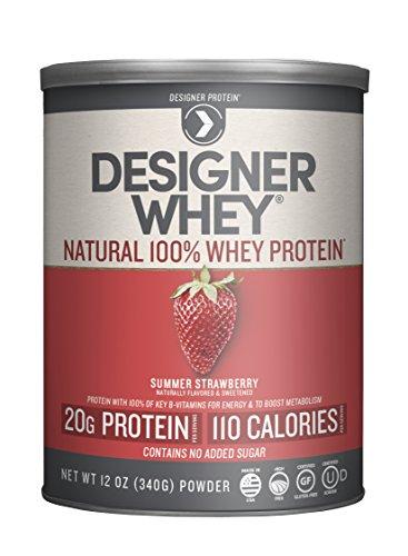 100% Whey Natural Strawberry - Designer Whey Premium Natural 100% Whey Protein, Summer Strawberry, 12 Ounce