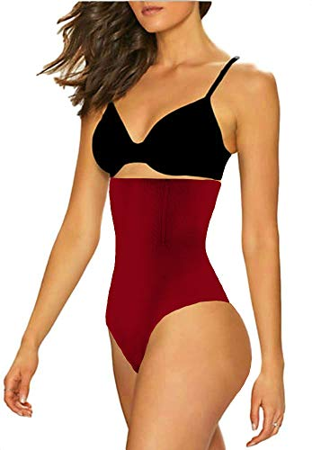 ShaperQueen 102 Best Womens Waist Cincher Body Shaper Trimmer Trainer Slimmer Girdle Faja Bodysuit Short Tummy Belly Weighloss Control Brief Corset Plus Size Underwear Shapewear Thong (3XL, Wine Red)