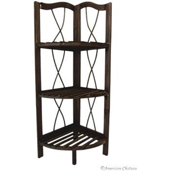 Free Standing Dark Wood Kitchen/Bathroom 3-Shelf Corner Shelving Unit