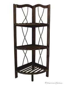 free standing dark wood kitchen bathroom 3 shelf corner shelving unit home kitchen. Black Bedroom Furniture Sets. Home Design Ideas