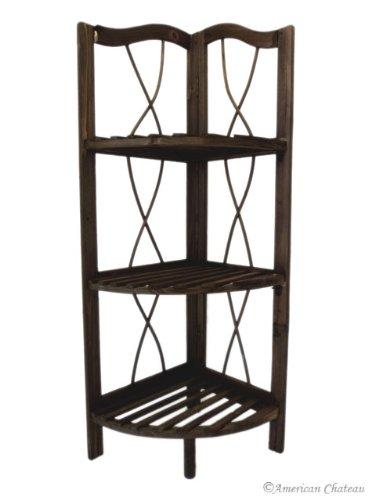 Free Standing Dark Wood KitchenBathroom 40Shelf Corner Shelving Unit Gorgeous Dark Wood Corner Shelves