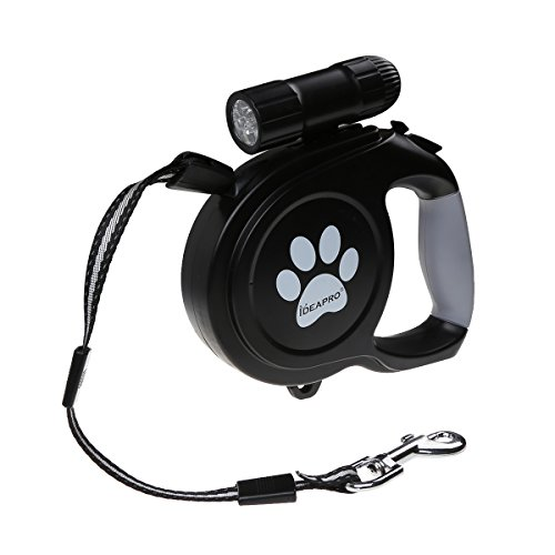Dog Retractable Leash, IDEAPRO 26ft Training Dog Leash With 9 LED Detachable Flashlight With Comfortable Grip & One Button Brake & Lock (up to 130lb - Dog Lock