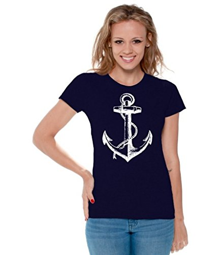 - Awkwardstyles Women's Anchor White T-Shirt Sea Marine Sailor Shirt + Bookmark L Navy