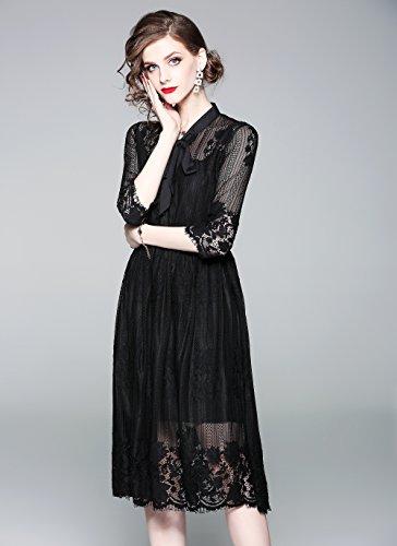 LAI&MENG Damen Elegant 2/3 Ärmel Spitzenkleid mit Knopfleiste vorne und Bindegürtel Cocktailkleid Partykleid Style 5 G1vgu