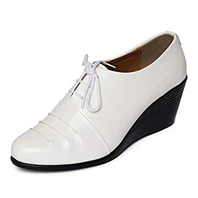 6315ee441cdb5 MarcLoire Women Formal Shoes, Girls Fashion Casual Party Shoes, Closed Toe  Lace Up Sneakers, Ladies Wedges Shoes - Synthetic, White