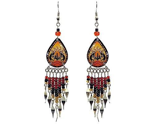 Kokopelli Southwest Teardrop Long Beaded Dangle Earrings (Golden/Black/Dark-Orange)