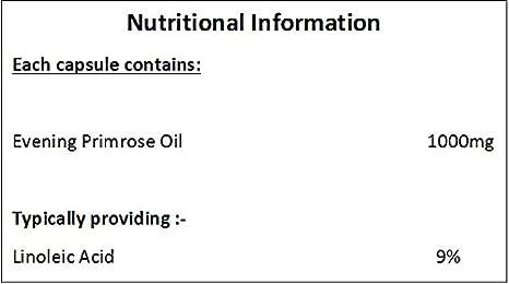 Aceite de Onagra (Evening Primrose Oil) 1000mg - 180 Cápsulas: Amazon.es: Salud y cuidado personal
