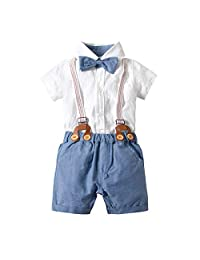 BINIDUCKLING Newborn Baby Boy Romper and Overall, Infant Toddler Bowie + Suspender + Romper + Shorts 4 Pcs Set