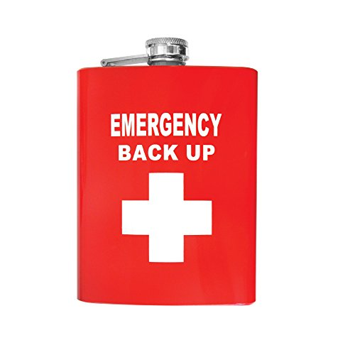 Flask Stainless Steel - First Aid - Emergency Back Up Flask - Great Gift and on the Go Hip Flask 8 oz
