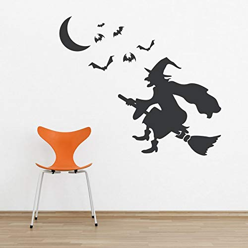 Dozili Witch On Broom Vinyl Wall Decal Sticker - Halloween Wall Art Halloween Decal Witch Decal Flying Bats Spooky Wall Art Flying Witch 24