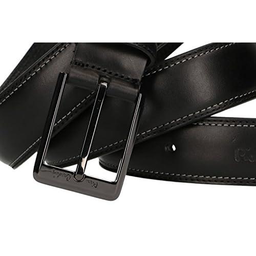 Chic Cinturón hombre PIERRE CARDIN negro en cuero con pespuntes MADE IN  ITALY 22d608aa9260