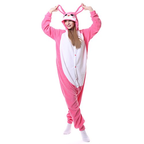 Rabbit Onesies Adult Pajamas Animal One Piece Cosplay Halloween Costume for Women Men]()