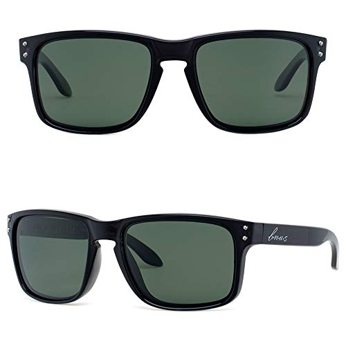 BNUS Italy made Polarized Sunglasses for men Corning Real Glass Lens (Black/Polarized Green G15, Size:56mm(M)) -
