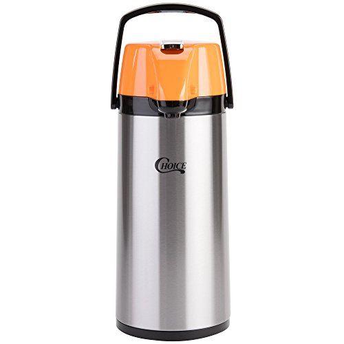Choice 2.2 Liter Glass Lined Stainless Steel Decaf Airpot with Orange Lever ()