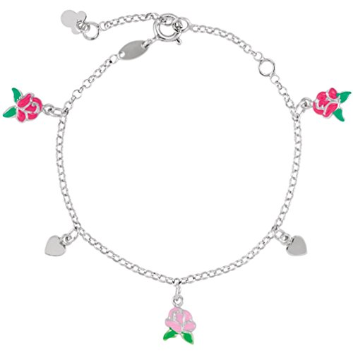 Childrens Sterling Silver Beauty and the Beast Belle Charm Bracelet, Adjustable 5.5'' to 7.5'' by The Men's Jewelry Store (for KIDS)