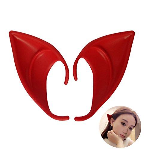 UVEEFUN Cosplay Halloween Elf Ears Costume Ears Tips Latex Prosthetic Red