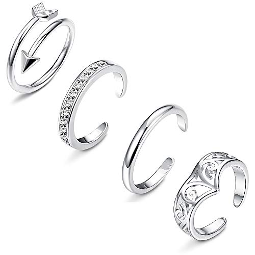 Toe Ring Silver Silver Tone (LOLIAS 4-8Pcs Open Toe Rings for Women Girls Arrow Adjustable Toe Band Ring Gifts Jewelry Set)
