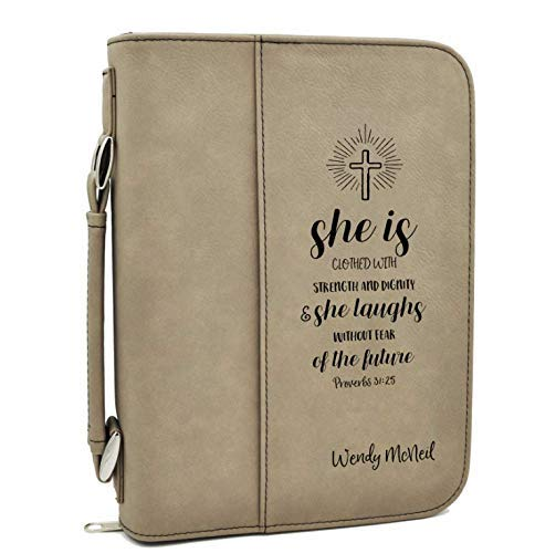 Custom Bible Cover | Proverbs 31:25 |Personalized Bible Cover (Tan)