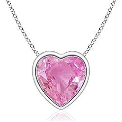 Bezel Set Solitaire Heart Shaped Pink Sapphire Pendant Necklace for Women