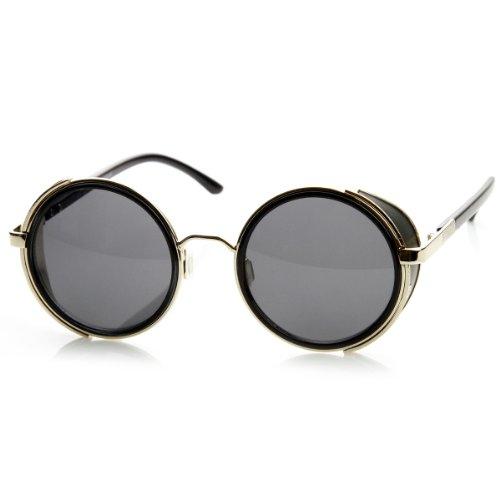 zeroUV - Studio Cover Metal Frame Side Shield Round Sunglasses - Ce Side Sunglasses Shield