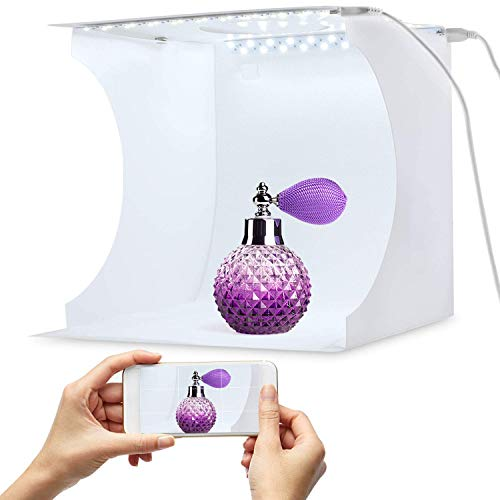 Portable Photo Studio Box for Jewellery and Small Items Portable Folding Photography Studio Box Booth Shooting Tent Kit?2x20 LED Lights 6 Colors Backdrops