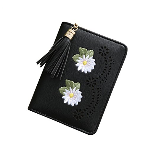 Black Retro Holder Portable Grey Change Credit Hearsbeauty Wallet Case Cash Card Flower Money Tassels RSOwSqxz