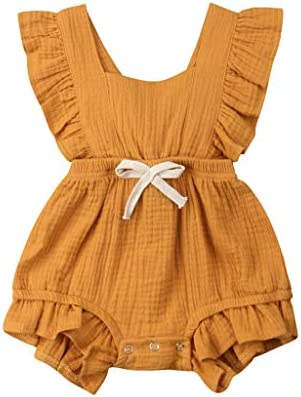 79db79abc Amazon.com: NUWFOR Newborn Infant Baby Girls Color Solid Ruffles Backcross Romper  Bodysuit Outfits(Yellow,18-24 Months): Beauty