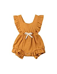 fb231016ba8a Baby Girls Rompers GoodLock Summer Newborn Infant Color Solid Ruffles  Backcross Romper Bodysuit