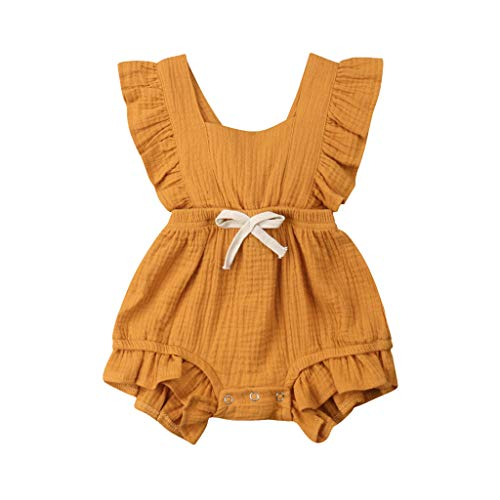 WOCACHI Toddler Baby Girls Clothes, Newborn Infant Baby Girls Color Solid Ruffles Backcross Romper Bodysuit Outfits 2019 Spring Summer Under 5 Deals Allowance Campaign Yellow ()