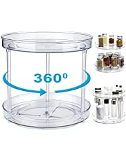 Draaiplateau organizer voor keukenkast, kruidenrek staand voor specerijen, fruit, snacks, kruidenrek voor kast, eetkamer, badkamer, cosmetica (BPA-vrij, 23,5 cm, 2 planken, transparant)