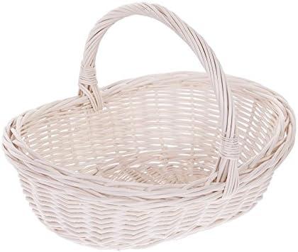 La cesta de la compra de mimbre, colour blanco y servicio de cesta, cesto de mimbre, oval, en caja de regalo cesta de la compra: Amazon.es: Hogar