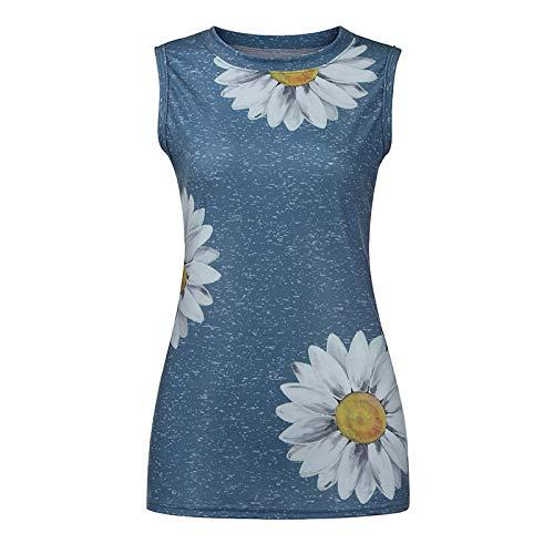 Keepfit Women Tank Tops, Sunflower Printed Vest Tshirt Striped Sleeveless Workout Blouse Casual Summer Tunic Tee