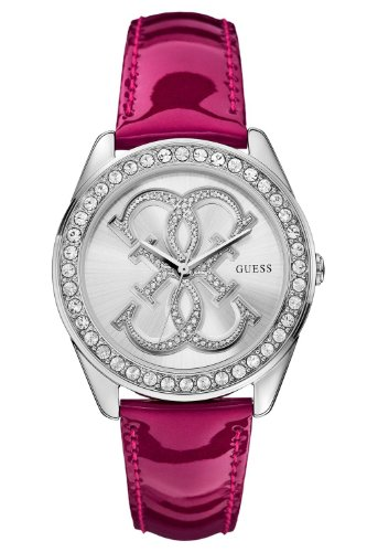 GUESS Women's U0208L3 Dazzling Iconic Logo Silver-Tone Watch