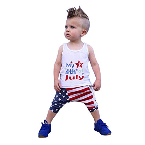 Sunyastor 4th of July Baby Girls Boys Clothes Sets Stars Vest T Shirt + American Flag Striped Harem Shorts Outfits Blue