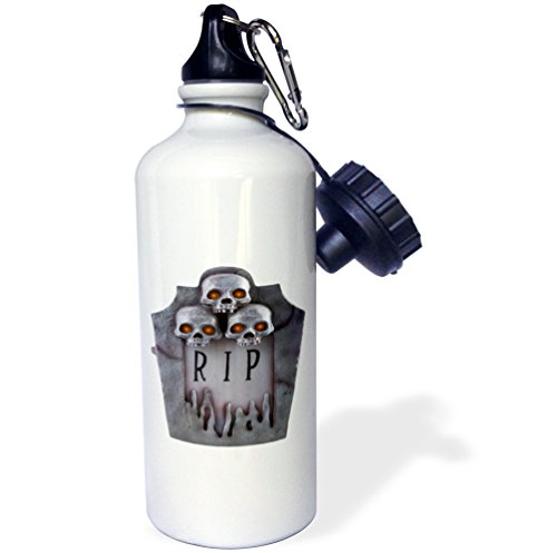 (3dRose Blonde Designs Happy and Haunted Halloween - Halloween Skull with Glowing Eyes Tombstone - 21 oz Sports Water Bottle)