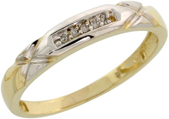 7//32 inch wide Gold Plated Sterling Silver Mens Diamond Wedding Band