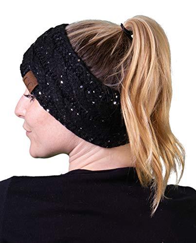Funky Junque HW-6033-73006 Sequin Headwrap - Sequin Black