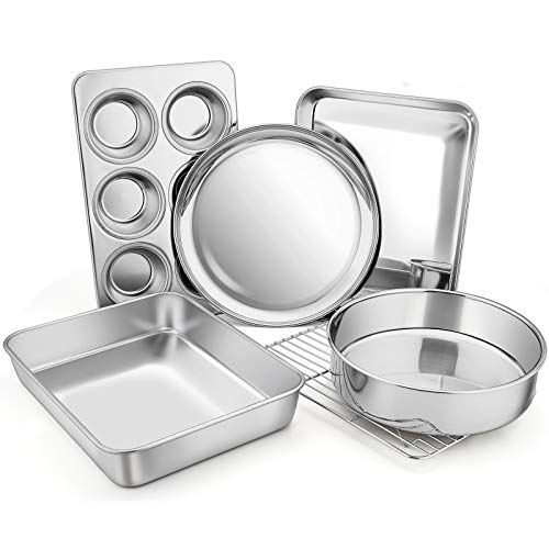Toaster Oven Bakeware Set, E-far 6-Piece Stainless Steel Small Baking Pan Set, Include Cake Brownie Pan/Cookie Sheet…