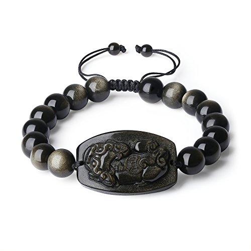 Obsidian Gold (COAI Shamballa Inspired Pixiu Pi Yao Gold Sheen Obsidian Bracelet for Men)