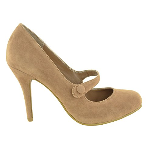 LADIES WOMENS LOW MID HIGH HEEL ANKLE STRAP COURT SHOES WORK PUMPS SANDALS SIZE Mocha Suede y28oofNgl