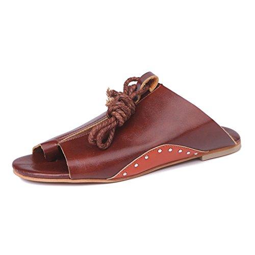 Appartements Chaussures Plage Herringbone Sandales Dingcaiyi Sandales Chaussures marron Roman Toe Boho Clip Oversize Rouge Vintage Cheville Strap Femmes Été Thong Plates Automne YaqYBUw