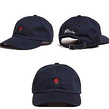 Flower Rose Embroidered Baseball Cap Curved Brim Hip Hop Adjustable Hat