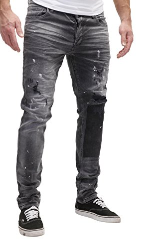 Jeans Vernice Pantaloni Patchato J2071 Merish Jeans Nero Uomo Distrutti Cutted Ultime Moda Maschile dHIIxf